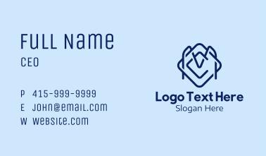 Blue C & M Monogram Business Card