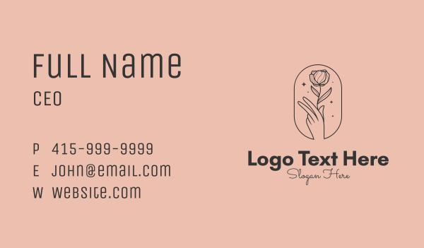 blooming - Minimalist Rosebud Florist Business card horizontal design
