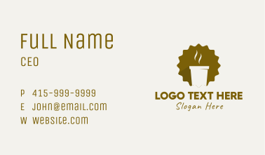 Brown Hot Coffee Cafe Business Card
