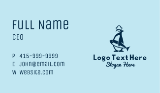 Penguin Seafood  Mascot Business Card