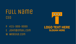Letter T Chat App  Business Card