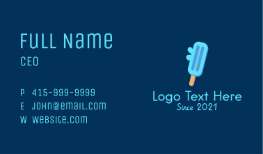 Blue Ice Cream Popsicle Business Card