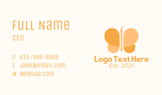 Flute Butterfly Business Card