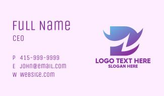Gradient Purple Letter D Business Card