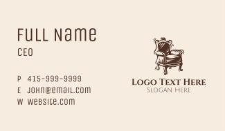 Brown Victorian Chair Business Card