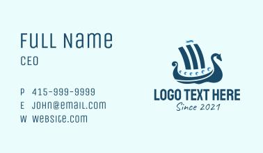 Blue Viking Ship  Business Card