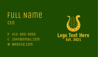 Gold Horseshoe Harp Business Card
