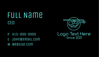 Blue Minimalist Helicopter  Business Card
