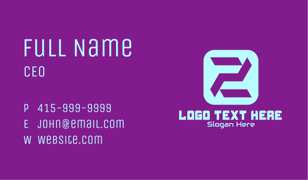app development - Esports Clan Letter Z Business card horizontal design