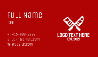 White Butcher Knife  Business Card