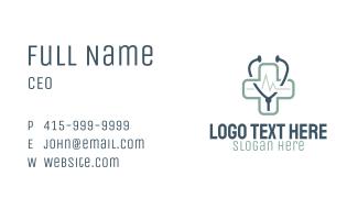 Blue Medical Cross Stethoscope Business Card
