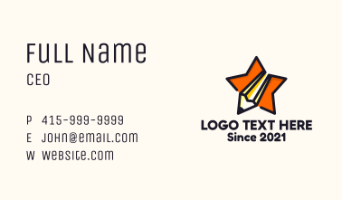Learning Star Pencil  Business Card