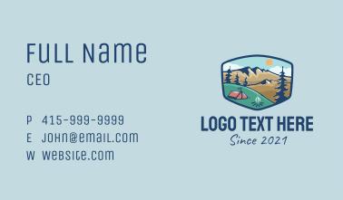 Mountain Campsite Badge Business Card