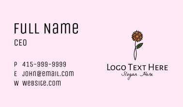 Carnation Flower Line Art Business Card