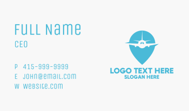 Airplane Location Pin Business Card