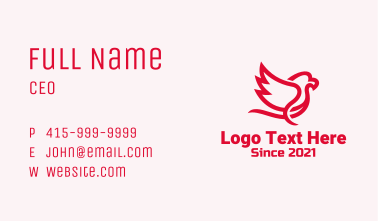 Red Minimalist Sparrow Business Card