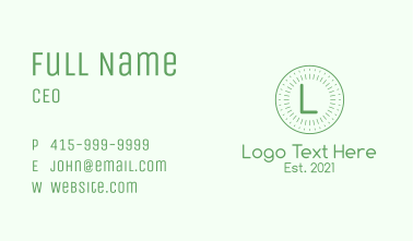 Simple Circle Rays Letter Business Card