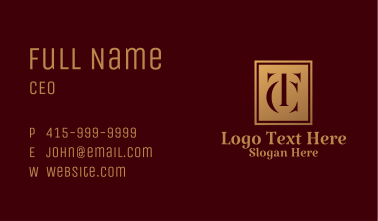 Letter TC Deluxe Hotel  Business Card