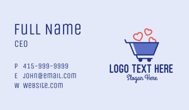 Shopping Cart Hearts  Business Card