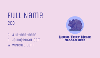 Purple Happy Hippo Business Card