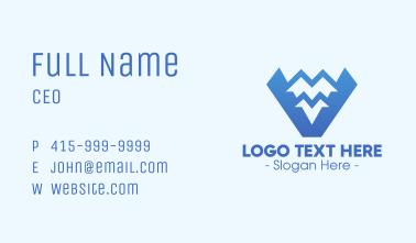 Blue Mountain Range Letter V Business Card