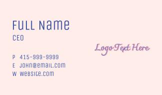 Retro Purple Wordmark Business Card