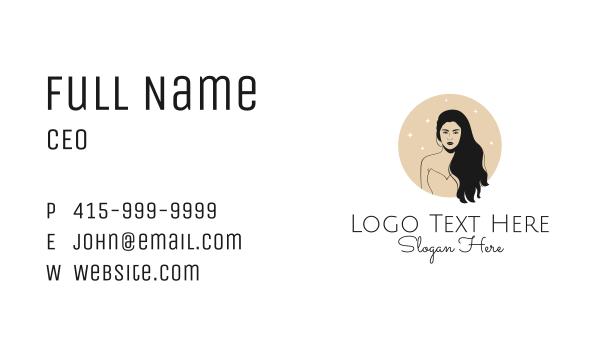 maiden - Black Hair Woman Business card horizontal design