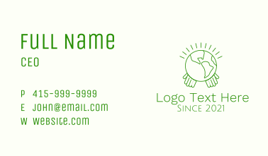 Planet Earth Hands Business Card