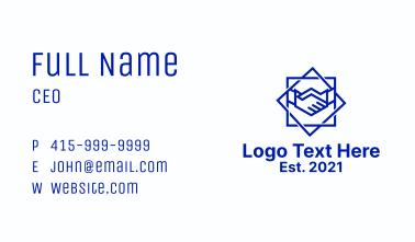 Geometric Badge Handshake Business Card