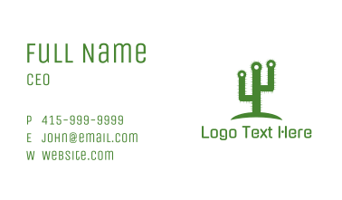Green Spikey Cactus Business Card