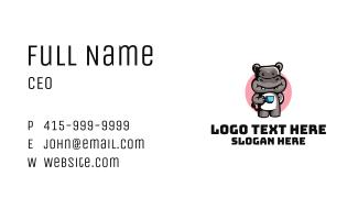 Hippopotamus Teacup Mascot Business Card