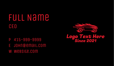 Flaming Race Car Business Card
