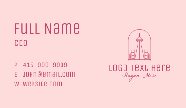 Pink Space Needle Outline  Business Card