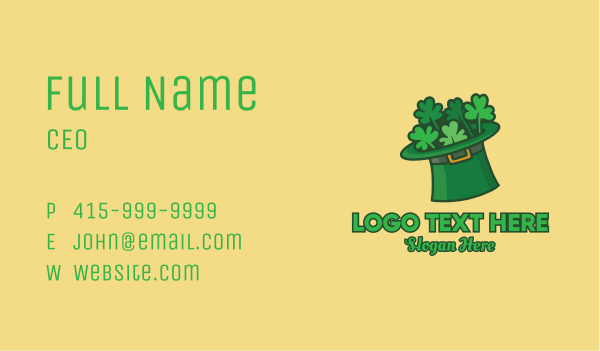 saint patrick - Leprechaun Shamrock Hat  Business card horizontal design