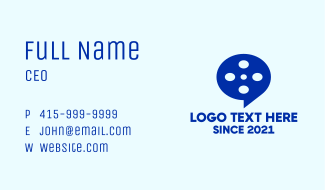 Film Reel Chat Bubble Business Card