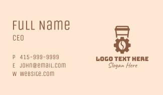 Coffee Bean Cogwheel Business Card
