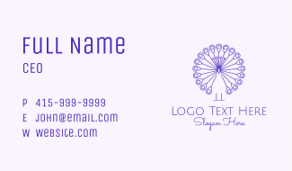 Purple Peacock Outline  Business Card