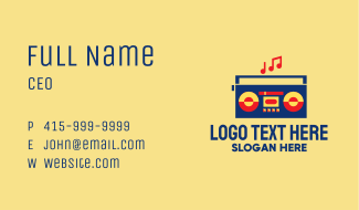 Retro Stereo Boombox Business Card