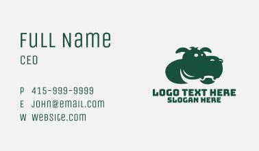 Green Hippo Mascot Business Card