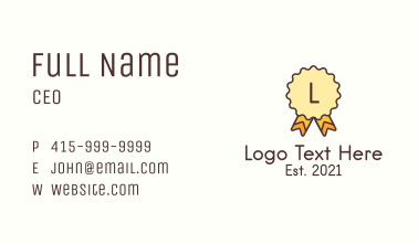 Award Badge Letter Business Card