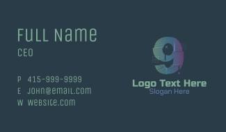 Modern Glitch Number 9 Business Card