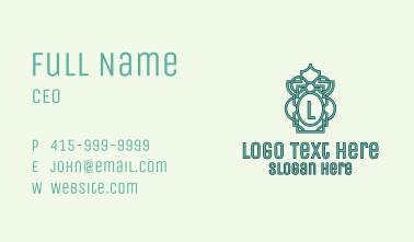 Green Islamic Motif Letter Business Card