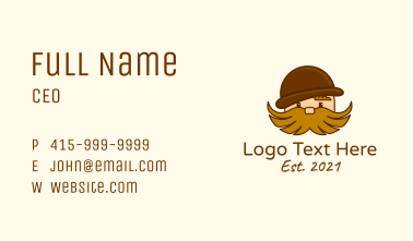 Hairy Moustache Guy Business Card