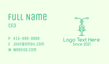 Green Bicycle Outline Business Card