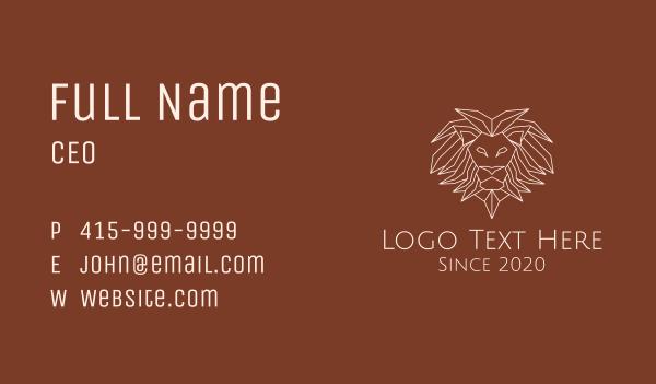 safari park - Wild Lion Monoline Business card horizontal design