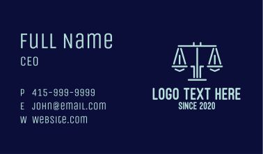 Legal Lawyer Attorney Scales Business Card