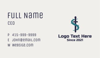 Sword Vine Letter S Business Card