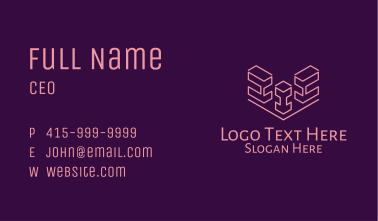 Isometric Block Outline  Business Card