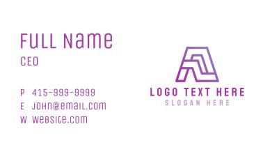 Purple Letter A Business Card