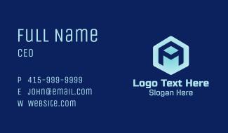 Tech Hexagon Letter A Business Card